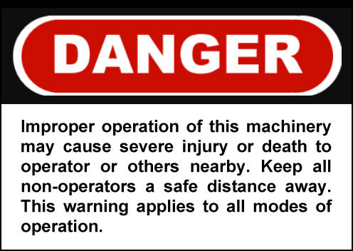 Typical Front Loader Warning Sign