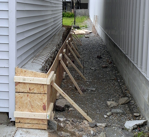 Shuttering in place for sidewall reinforcement, Race St., Sunbury PA