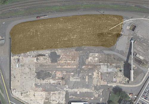 Celotex from Google Earth - Sepia Tint shows Dump Area.