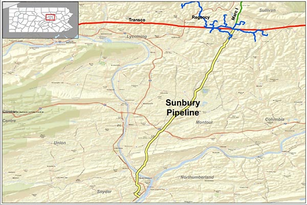 Sunbury Pipeline - preferred route.
